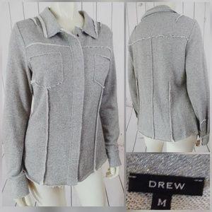 Drew Jacket Shirt Top M cotton Poly Stretch Snaps